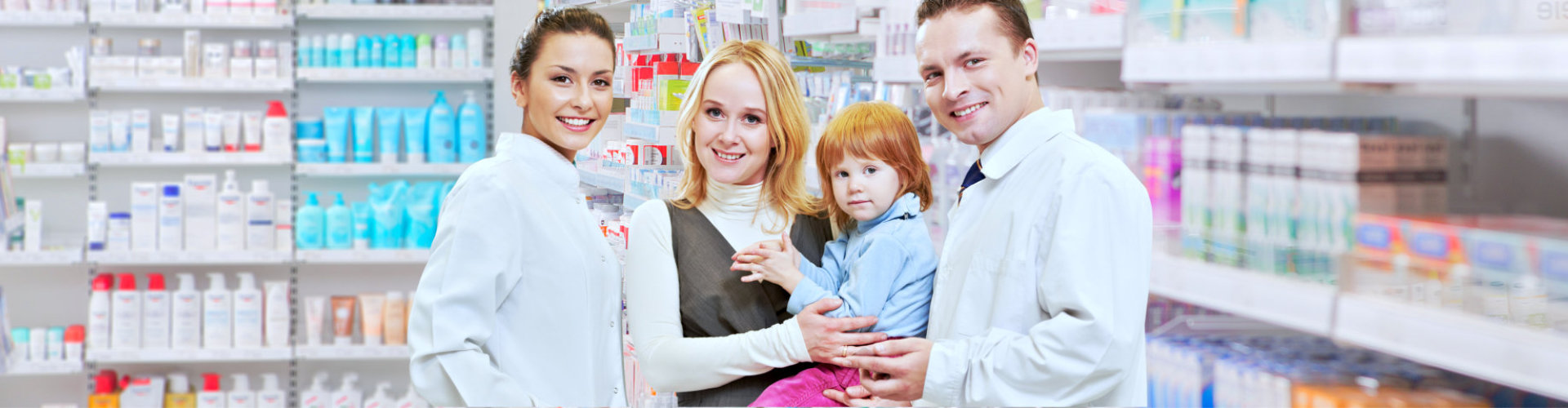 pharmacist and customers smiling